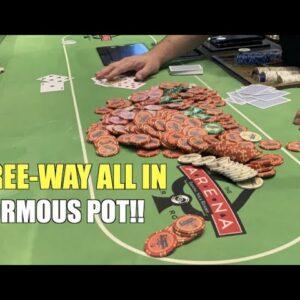 Two Opponents Shove On Me In Gigantic All In Pot!! Poker Vlog Ep 149