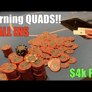 I Stack Half The Table!! We Turn Quads And Play $4k+ ALL IN Pot!! Must See! Poker Vlog Ep 163